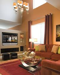 Living Room High Ceiling Soft Orange Modern Living Tv Family Room - Family room design with tv