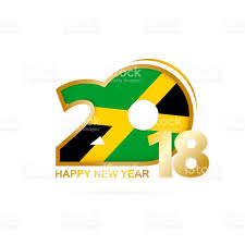 Jamiaca Flag Year 2018 With Jamaica Flag Pattern Happy New Year Design Stock
