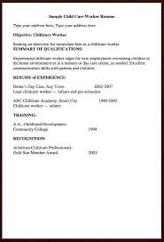 Resume Examples For Daycare Worker Child Care Worker Sample Resume Free Resume Example And Writing