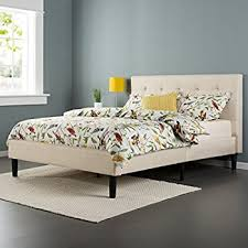 Platform Bed With Nightstands Attached Amazon Com Zinus Upholstered Square Stitched Platform Bed With
