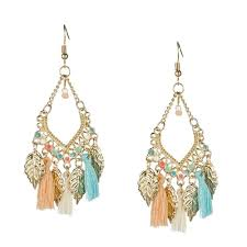 chandelier earrings leaves and tassel retro chandelier earrings loxlux jewelry