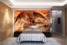 Mountain Mural Wall Art Wallpaper Mural Red Dragon In Mountain Background