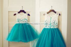 teal dresses for wedding ivory lace green tulle wedding flower dress