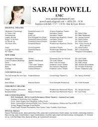 theatrical resume format sle musical theatre resume fungram co