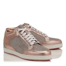 tea rose metallic printed leather and glitter low top trainers