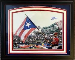 Puertorican Flag Autograph Print Of St Louis Cardinals Yadier Molina With The
