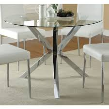 Round Glass Top Dining Room Tables by Nova Round Glass Top Dining Table Circular Iron Base Shiny Chrome