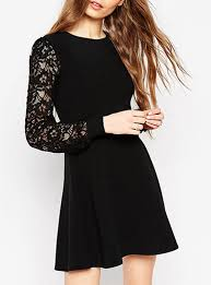 black skater dress black skater dress classic black lace sleeves fit and flare