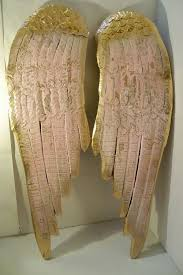 large wood sculpture angel wings pink shabby chic wall hanging