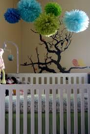 Nursery Decoration Woodland Nursery 10 Tissue Paper Pom Poms Custom Nursery