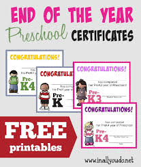 preschool certificates free end of the year preschool certificates