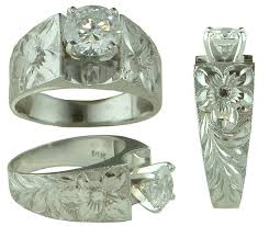 Hawaiian Wedding Rings by Hawaiian Heirloom Jewelry 14k White Gold Cubic Zirconia Wedding