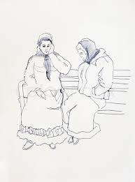sketch drawing of two romani women sitting on the bench gypsy