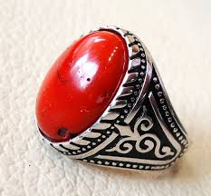 all red rings images Red jasper man ring stone natural aqeeq gem sterling silver 925 jpg
