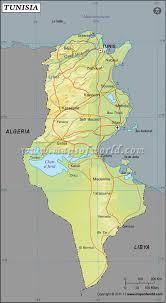 tunisia physical map latitude and longitude map