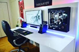 Desk For Pc Gaming Captivating Pc Gaming Desk Setup Modern Furniture Ideas