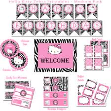 Hello Kitty Birthday Invitation Card Hello Kitty Zebra Hybrid Printable Birthday Party Package Medium Pink