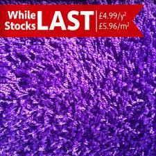 while stocks last purple shag pile carpet hessian backed