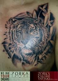 flower and tiger on chest designs pictures