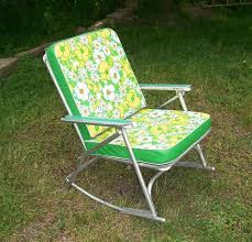 Folding Patio Chair by Vintage 195039s Aluminum Rocking Lawn Chair Recyclebuyvintage