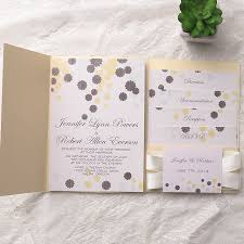 affordable pocket wedding invitations cheap gold pocket grey flower wedding invitations ewpi133