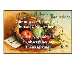 our offices will be closed for thanksgiving