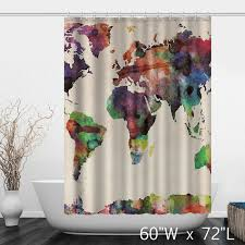 Shower Curtain Map Watercolor Colorful World Map Print Shower Curtain Custom Shower