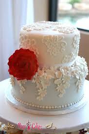 wedding cake 2 tier blue white red flower gumpaste fondant u2013 pixy