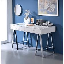 writing desk with shelves acme furniture coleen white and chrome desk with storage 92229