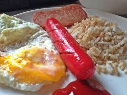 spam hotdog sunny side up u0026 fried rice with ufc banana ketchup
