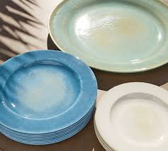 reactive glaze melamine dinnerware set of 4 indigo pottery barn