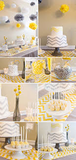 yellow and gray baby shower chevron themed baby shower in yellow and gray set an original
