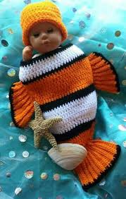 Crochet Baby Halloween Costume Crochet Clown Fish Newborn Cocoon Hat Newborn Baby