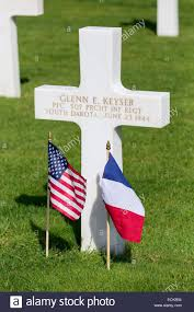 French And American Flags France Calvados Colleville Sur Mer The American Cemetery Above