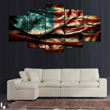 American Flag Decor Poster Hd Printed Canvas Large Painting Frame Home Decor 5 Pieces