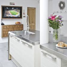 stainless steel island for kitchen this glossy white cabints and stainless steel worktops small