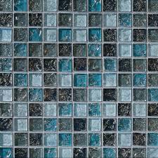 sample blue glass mosaic tile crackle kitchen backsplash bathroom