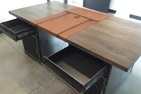 modern industrial desk with custom leather signature pad the