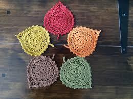 amigurumi leaf pattern crochet leaf coasters pretty ideas
