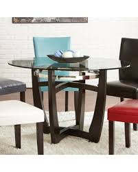 deals on steve silver matinee round glass top dining table