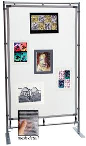 ideas for displaying pictures on walls flourish freestanding steel frame meshpanel display wall blick
