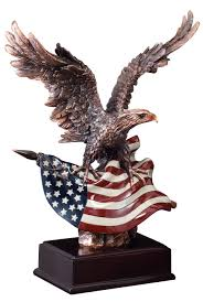 our bald eagle statue features a bronze eagle with a full color