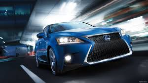 2017 lexus ct fsport blue color on road in night lights background