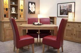 furniture solid wood dining table with red leather chair added
