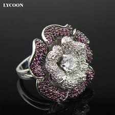 big flower rings images Lycoon fashion women big flower finger ring silver plated prong jpg