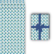 Muster Blau Grün 70er Jahre Geschenkpapier Mit Geometrischem Muster 32 X 48cm In