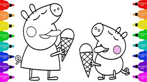 how to draw peppa pig eat ice cream coloring pages kid drawing