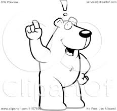 cartoon clipart of a black and white an exclaiming polar bear