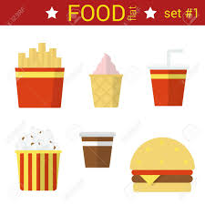 food vector flat design fast food vector icon set burger fried potato