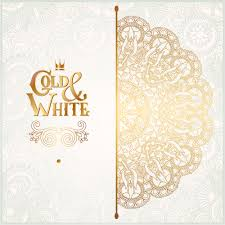 gold with white floral ornaments background vector illustration